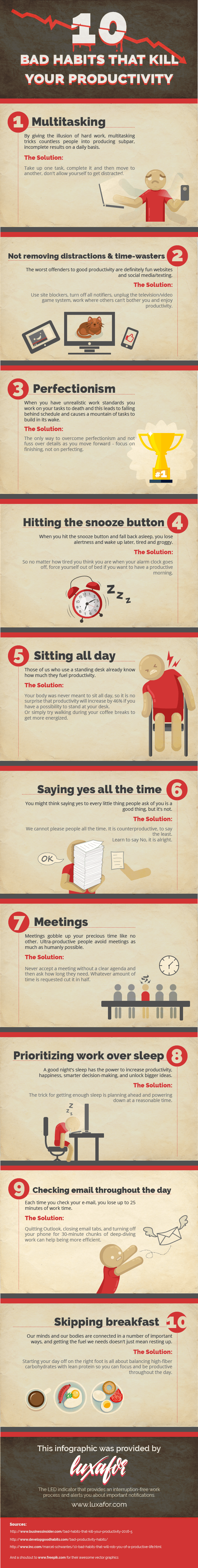 10 Bad Habits That Kill Your Productivity Infographic