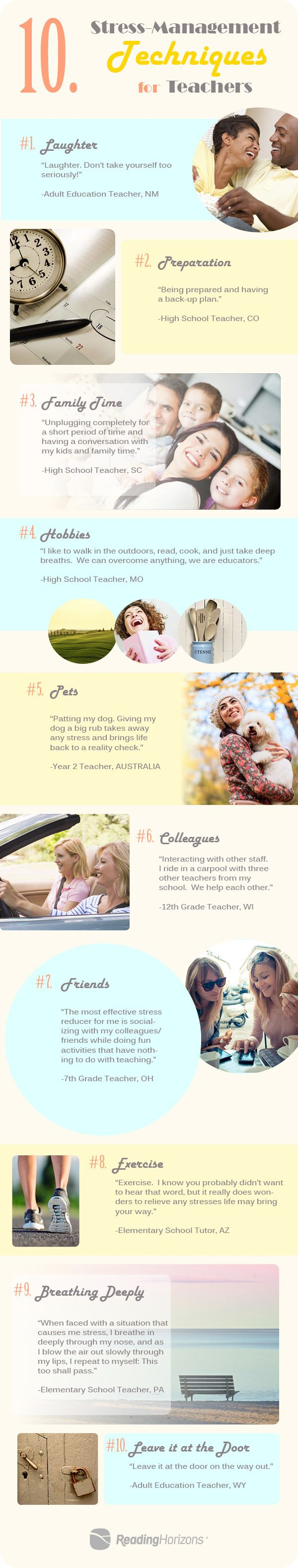 stress management strategies for teachers and students  10 stress management techniques for teachers infographic