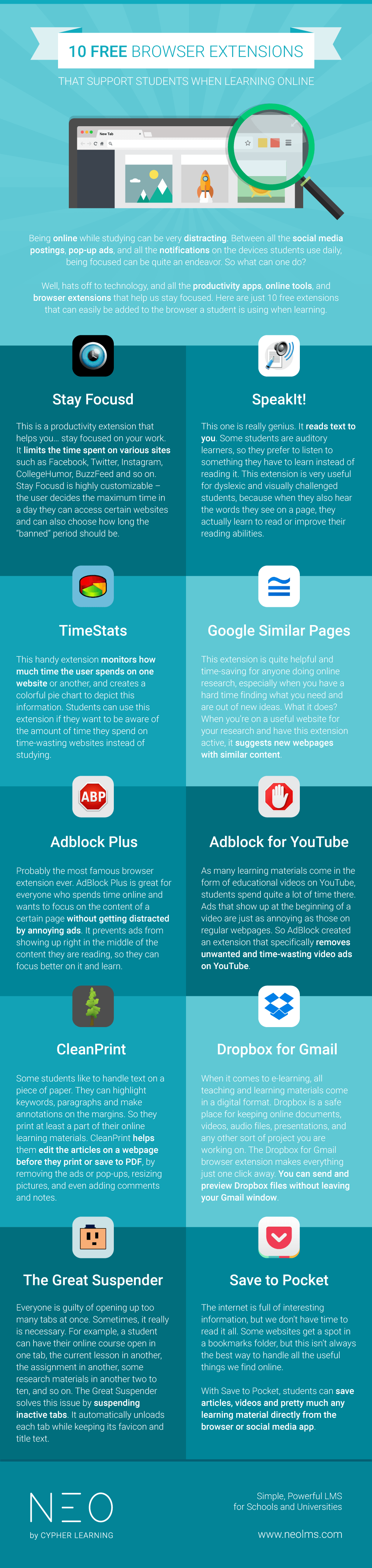 Free Browser Extensions for Online Students Infographic