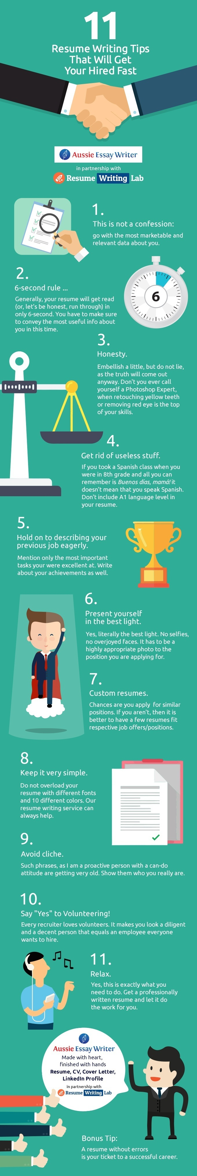 11 resume writing tips that will get you hired fast infographic