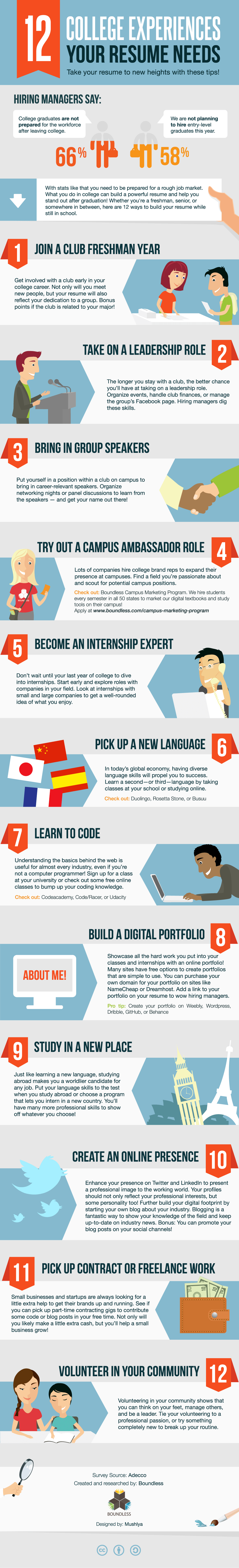 12 Ways To Build Your Resume In College Infographic E Learning