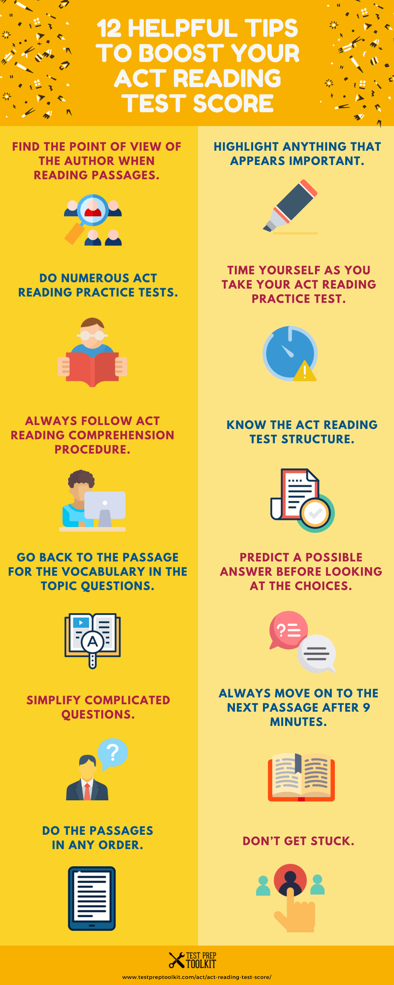 12 Helpful Tips To Boost Your ACT Reading Test Score Infographic