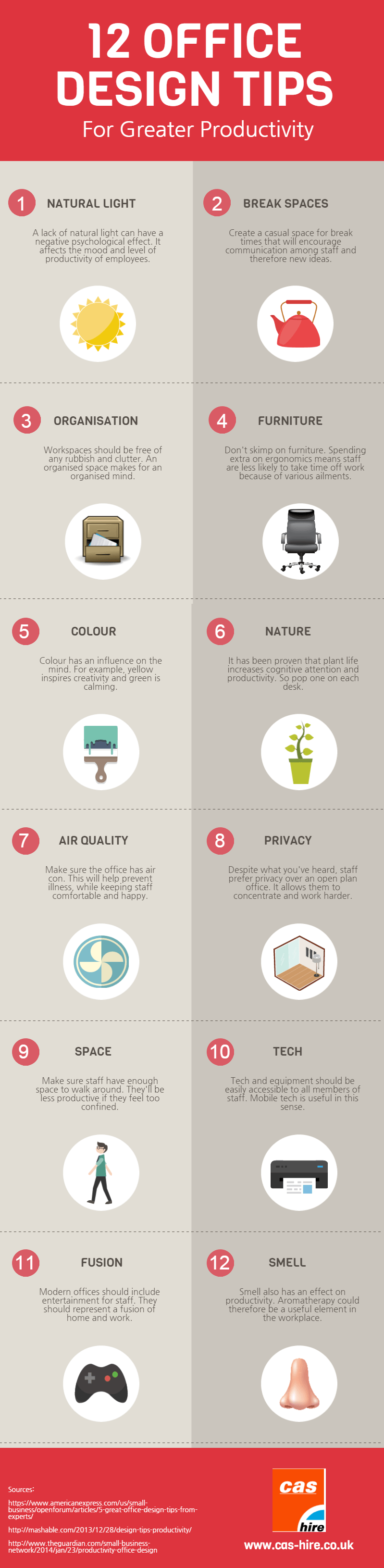 12 office design tips for greater productivity infographic for Office design productivity research