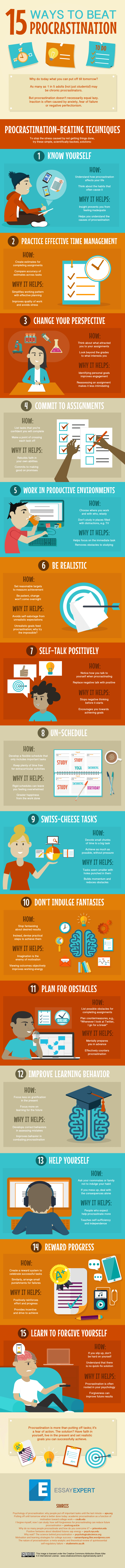 15 Ways Students Can Beat Procrastination Infographic