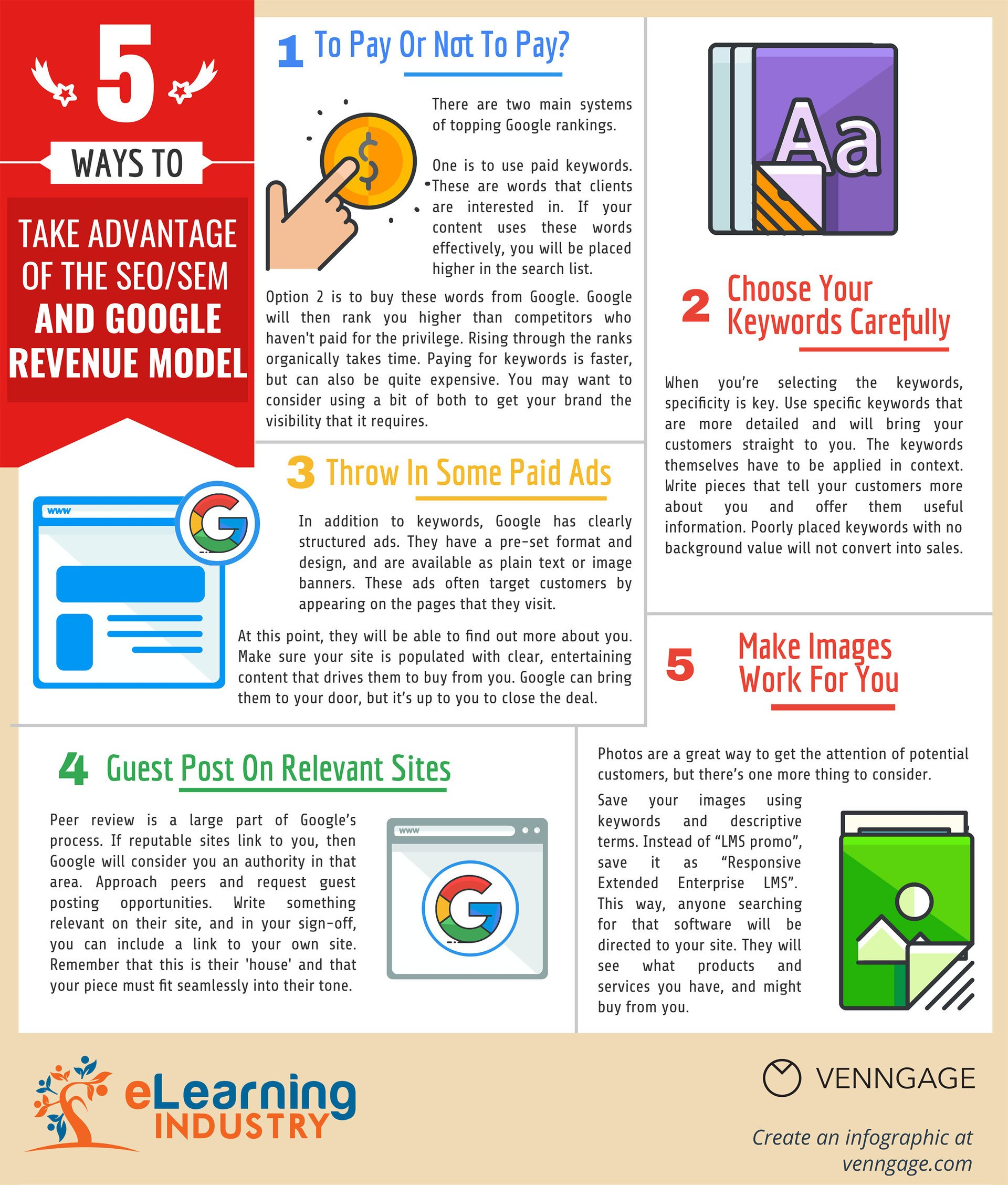 5 Ways To Take Advantage Of The SEO/SEM And Google Revenue Model Infographic
