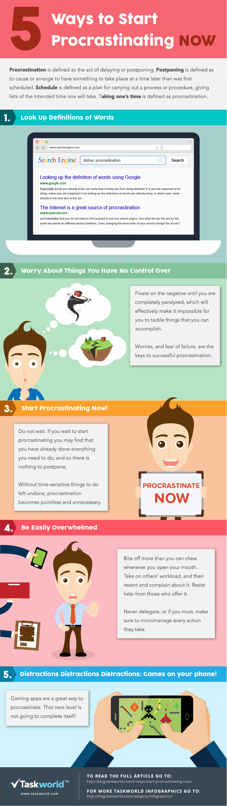 5 Ways to Procrastinating Now Infographic