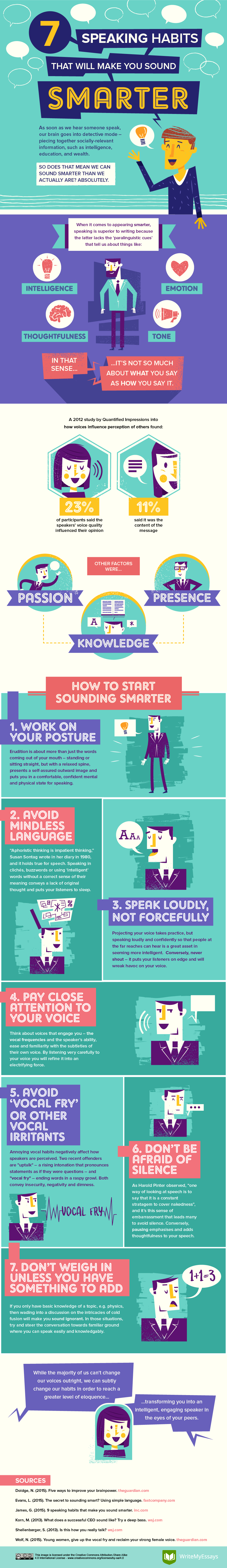 7 Speaking Habits That Will Make You Sound Smarter Infographic