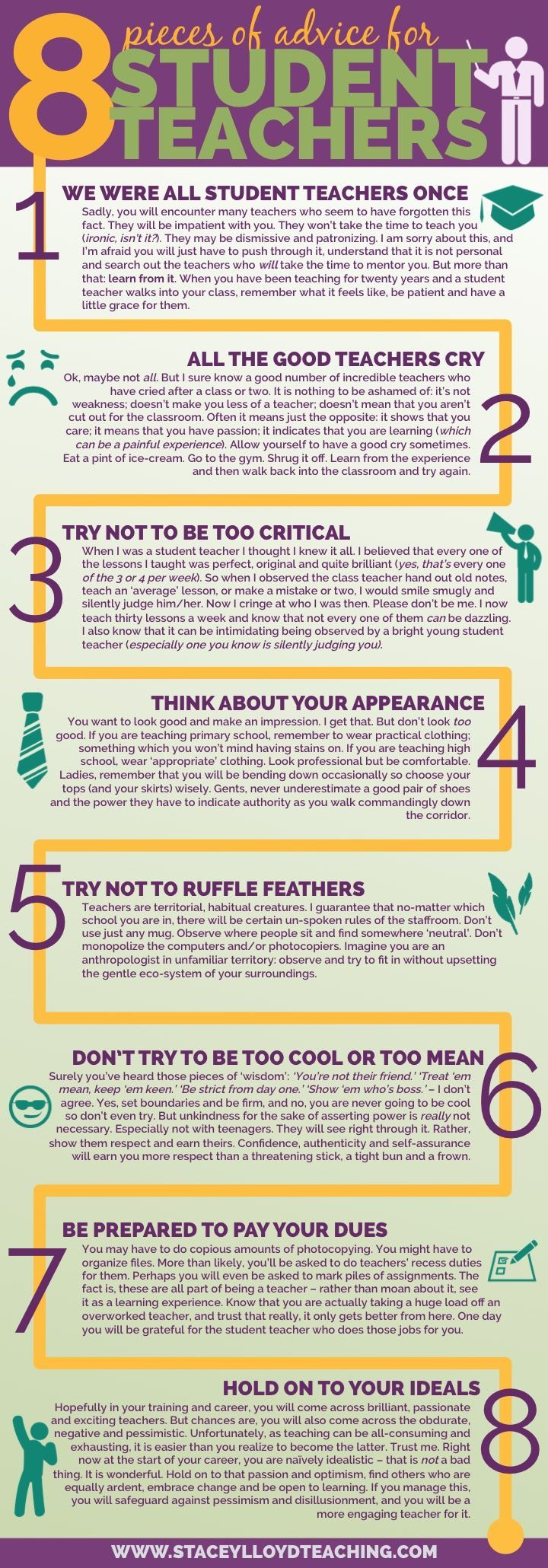 8 Pieces of Advice for Student Teachers Infographic