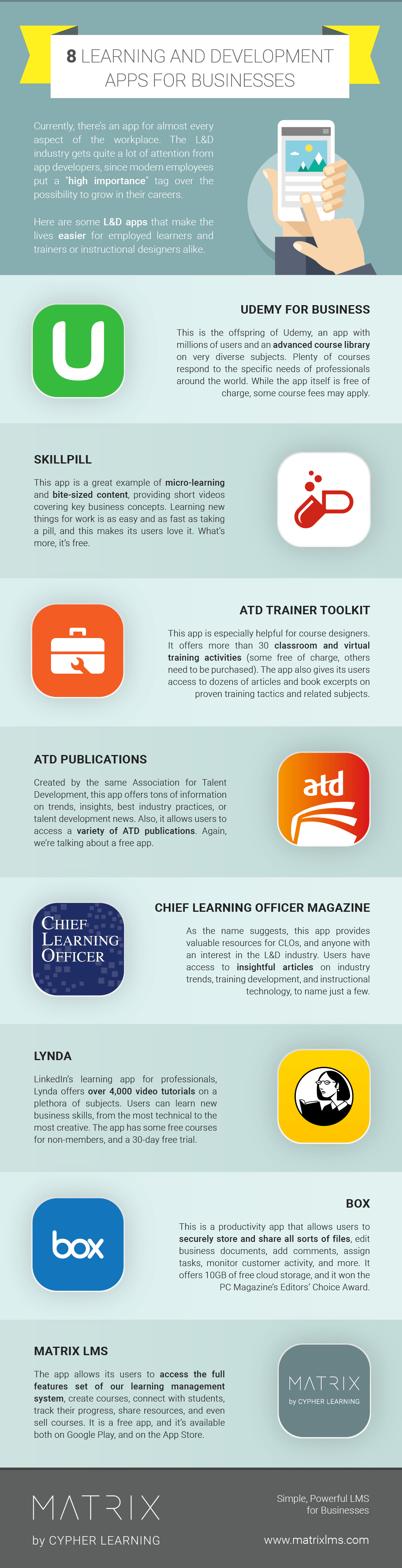 8 Learning and Development Apps for Businesses Infographic