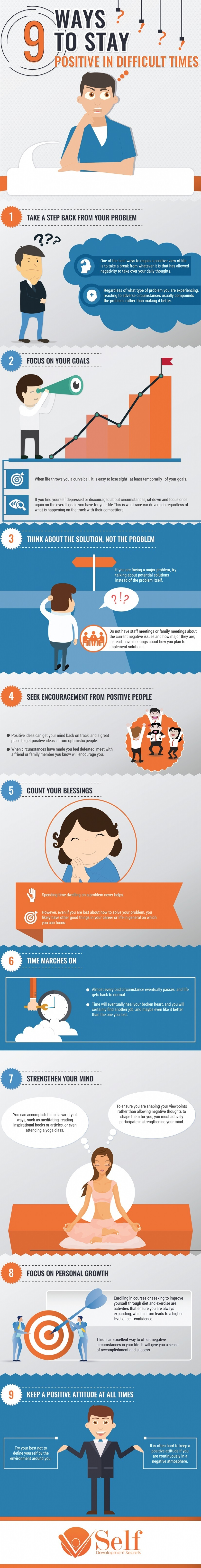 9 Ways To Stay Positive In Difficult Times Infographic