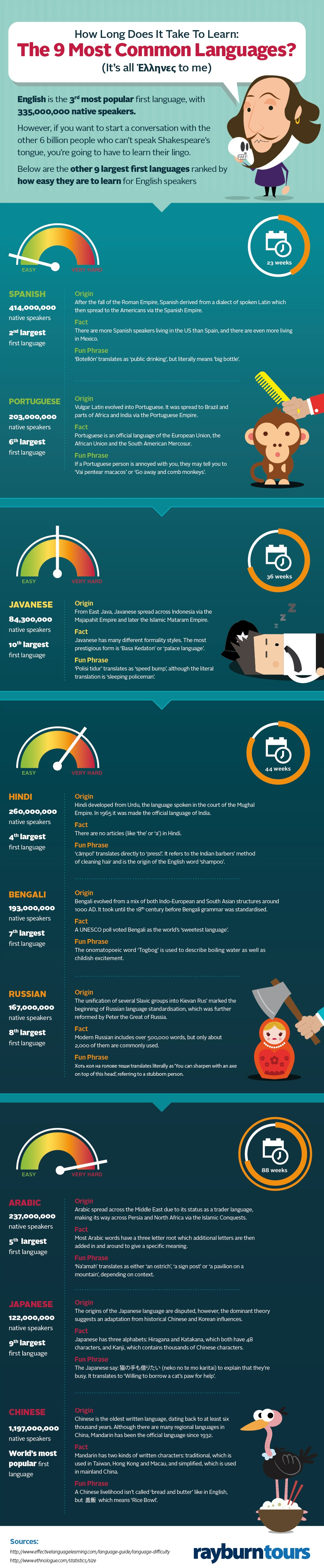 9 Most Widely Spoken Languages Infographic