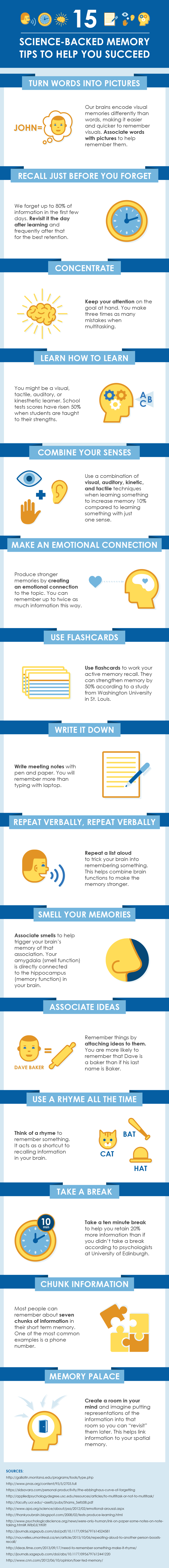 15 Science-Backed Memory Tips Infographic